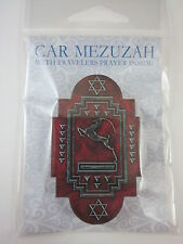 "Car Mezuzah 2.5"" Acrylic ART DECO GAZELLE with Travelers Prayer Scroll"