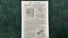 LIONEL # 445 SWITCH TOWER INSTRUCTIONS PHOTOCOPY