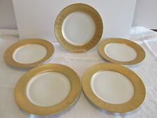 5 Gold Encrusted Rim Dinner PLATES Vintage T& V Limoges France Art Deco Designs