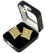 Men's Hip Hop Iced Out Large Micro Pave 11 Row Kite Screw Back Stud Earring