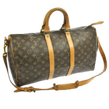 AUTH LOUIS VUITTON KEEPALL 45 BANDOULIERE TRAVEL HAND BAG MONOGRAM 16757js A