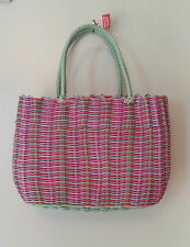 RETRO WOVEN SHOPPING BASKET BAG SHOPPER 40s 50s VINTAGE STYLE PINK PURPLE AQUA