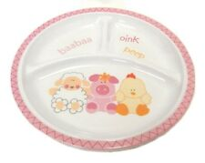 Baby Girl Divided Toddler Plate Pink Sheep Pig Chicken Chick Household Plastic