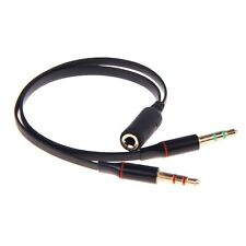 Black 3.5mm Y Splitter 2 Jack Male to 1 Female Headphone Mic Audio Adapter Cable
