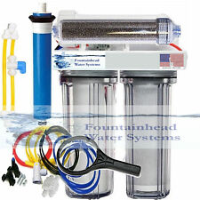 RO/DI REVERSE OSMOSIS AQUARIUM/REEF SYSTEM 4 STAGE MANUAL FLUSH VALVE 100 GPD