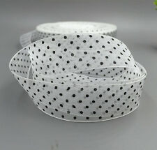 10 Yards 25mm white dot Satin Edge Sheer Organza Ribbon Bow Wedding decoration