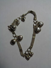 """SILVER  BRACELET CHAIN WITH HEARTS 7"""", S SHAPED CLASP"""