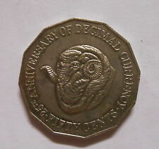 1991 50c Ram' s Head  FIFTY Cent 25th ANNIVERSARY OF DECIMAL CURRENCY