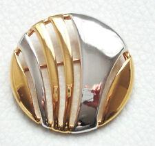 BROCHE vintage NEUF signé rond doré & argenté Superbe brooch !  Très beau!