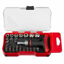 Stalwart T-Handle Ratchet Socket and Metric Socket and Bit Set 27 Pieces
