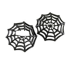 Black Spider Web Gas Cap Cover Set. Fits stock domed screw Harley Davidson caps