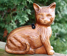 Timmy Woods NATURAL CARVED CURIOUS CAT KITTY MINAUDIERE PURSE BAG CLUTCH