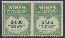 U.S., 1951-54. Wine Tax Stamp RE201 Pair, Mint, NH
