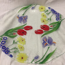 "SPRING FLOWERS 13"" ROUND RUFFLED FUSED GLASS TRAY PLATTER  RED TULIPS BLUE IRIS"