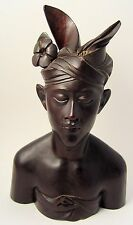 Vintage Ebonized Bust Statue Polynesian Native Girl Hand Carved Indonesia