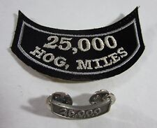 HOG Harley Davidson Owners Group 25,000 Miles Mileage Rocker Vest Patch Pin Set