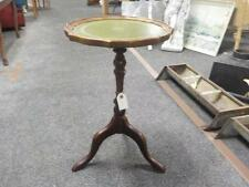 Vintage Green Leather Top Reproduction  Wine Table In Mahogany