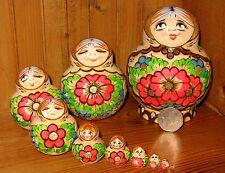 Russe dipinte a mano 10 nidificazione PIROGRAFIA bambole Facciale Expressions