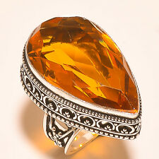 "FACETED BRANDY TOPAZ 925 STERLING SILVER RING ""6.4"""
