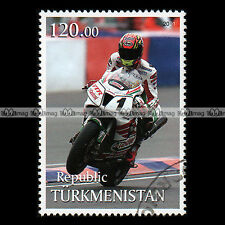 ★ COLIN EDWARDS HONDA VTR SP2 ★ TURKMENISTAN Timbre Moto / Motociclo Stamp #429