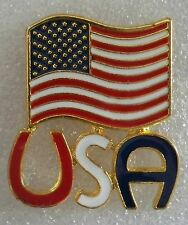 USA and large flag pin, gold plated, made in the USA,