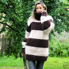 BROWN Hand Knit Mohair Sweater BEIGE Soft Dress Pullover by EXTRAVAGANTZA XL