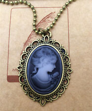 1pcs Fashion Retro Beauty Head Goddess Cameo Charm Alloy Lady Necklace gray ~4