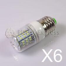 6 x Bombilla E27 6W 48 LED SMD 3014 Blanco Frio 12V/24V DC/AC Barco, caravana...