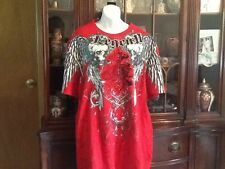"rawblue  ""royal dignity"" mens short sleeve shirt red/ black/ white sz 3 xl"
