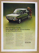 1970 Toyota Corolla green 2-door car photo vintage print Ad