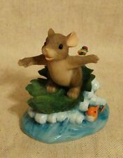 """Charming Tails Fitz Floyd """"Hang Ten"""" Surfing Mouse Figurine Collectible"""