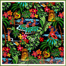 BonEful Fabric FQ Cotton Quilt Rainbow Black Sexy Pin Up Hawaii Flower Luau Girl