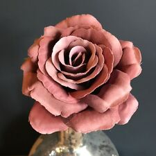 Dusky Pink Faux Silk Rose. Realistic Artificial Light Dusty Pink Flower