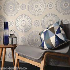 Glitter Medallion Wallpaper by Holden Decor - Blue / Cream 11451