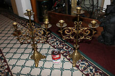 Superb Vintage Victorian Candlestick Holders-Brass-Pair-Holds 3 Candles-LQQK
