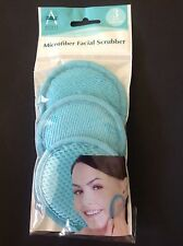 Face Scrubber Pads New 3 Turquoise Blue Microfiber Facial Cleaner