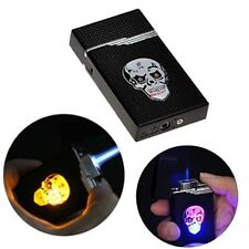 Skeleton Skull Head Windproof Jet Flame Cigarette Lighter with Colorful Light