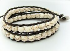 Cream turquoise beads 2 Wrap Bracelet Real  leather  fashion bracelet