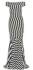 DOLCE & GABBANA Black White Striped Silk Off The Shoulder Dress Gown 40 2 4