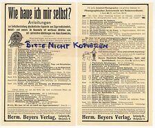 LEIPZIG, Werbung 1911, Herm Beyers Verlag Wie baue ich mir selbst? Anleitungen
