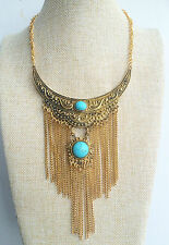Bronze Tibetan Boho Chic Vintage Style Bohemian Turquoise Gypsy Tassel Necklace