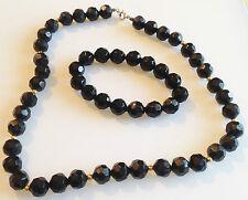 parure ancienne fantaisie collier et bracelet perle noir a facette 309