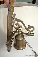 "small Front Door Bell pull chain solid aged brass old vintage style 8 "" hang"