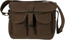 BROWN Military Ammo Bag Canvas 2 Pocket Carry Messenger Bag Shoulder Bag 2267