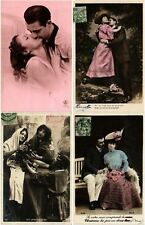 GLAMOUR ROMANTIC COUPLES Lot of 500 CPA Vintage Real Photo Postcards PART 1
