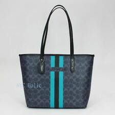 New Coach F38405 Varsity Stripe City Zip Tote In Signature Denim Black NWT