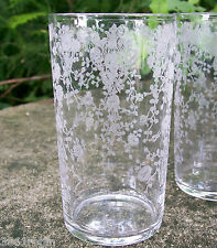 "Cambridge ""Rose Point"" Etched Glass Tumbler 4 3/8""H Line #3400 1936-53"