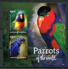 Antigua & Barbuda 2014 MNH Parrots of World 2v S/S I Birds Lorikeet Macaw Stamps