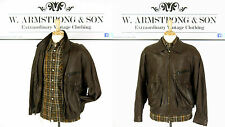 Men's Vintage Brown REAL LEATHER Bomber Biker MOD Soul Indie 80s Jacket UK XL