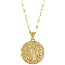 """18k Gold Plated Saint Benedict Medal Necklace Pendant Reversible Religious 19"""""""